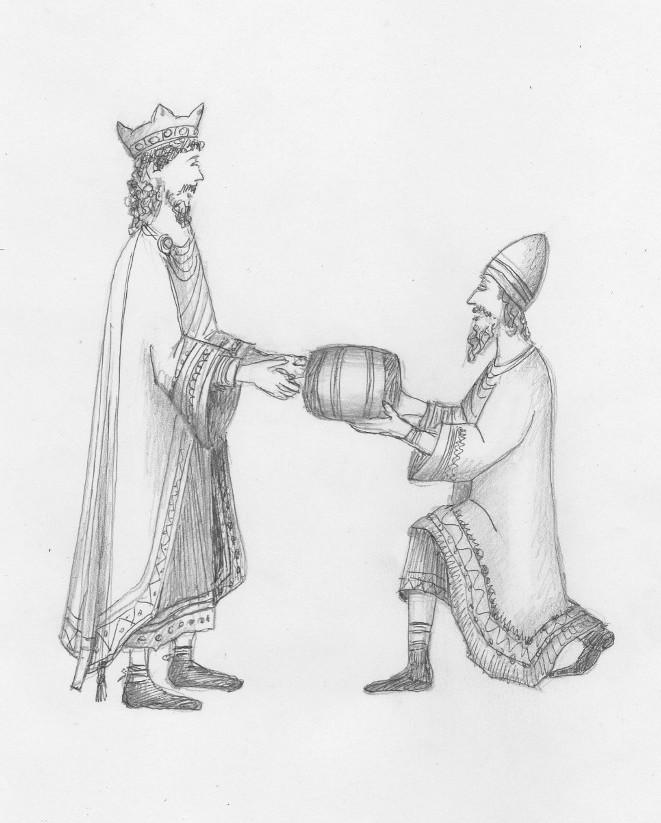 Bonifacio gives a silver cask to King Henry III